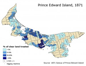 Mussel mud distribution as a proportion of cleared land within 2 miles of the coast, PEI, 1871, Source 1871 Census