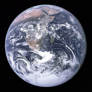 The Blue Marble: View of the earth as seen by the Apollo 17 crew traveling toward the moon. Source, Wikipedia
