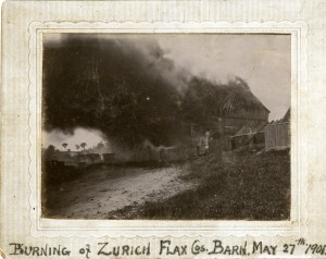 Burning of a Zurich flax barn, 1901. From the Collection of the Huron County Museum & Historic Gaol.