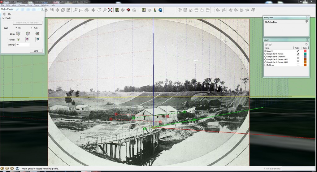 """Screenshot of using historical photographs and the SketchUp """"photo match"""" tool to create accurate 3D models of disappeared historical sites."""
