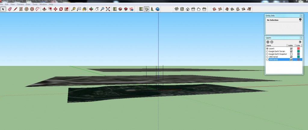 """Screenshot of """"draping"""" historical aerial photographs on 3D landscape and creating new layers for each year in SketchUp"""