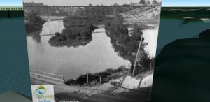 3D model and 2D re-photograph of the Kettle Creek mill pond (now Athletic Park, between St. George street and the Wabash railway bridge) in St. Thomas