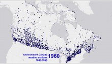 Environment Canada weather stations, 1960. map J MacFadyen